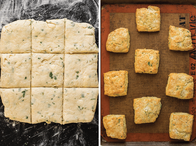 Side by side photos of nine square herb biscuits - one photo before the biscuits are baked, and one after they are baked.