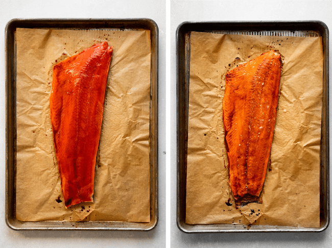 side by side photos of a sockeye salmon fillet on a baking sheet before and after baking