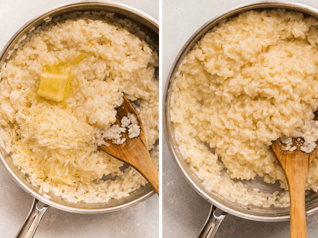 graphic with two side by side photos, the first of a pot of risotto with a pat of butter and handful of parmesan on top, and the second photo of finished risotto after stirring in the butter and cheese