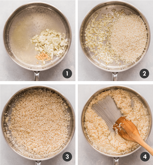 graphic with four photos illustrating the steps to make homemade risotto