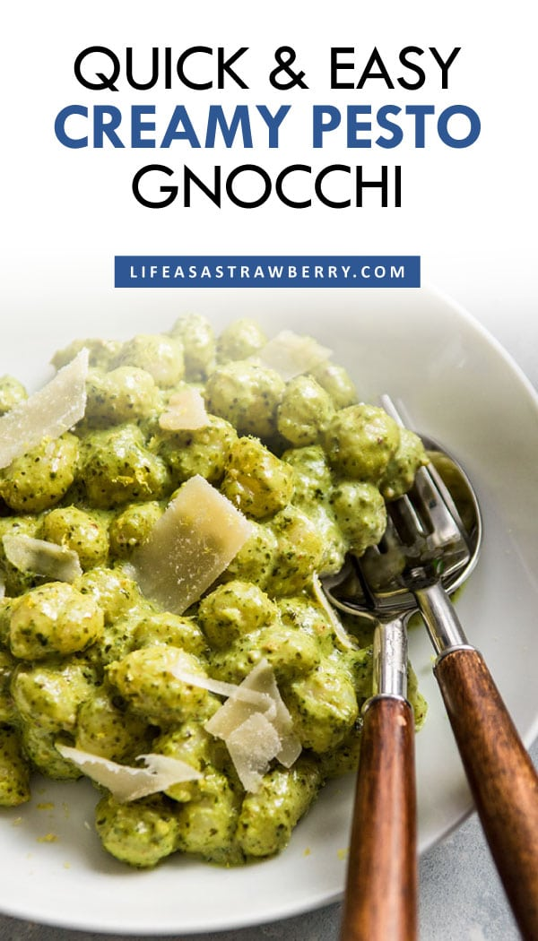"""Photo of gnocchi tossed with pesto cream sauce in a white bowl with text overlay that reads """"quick & easy creamy pesto gnocchi"""""""