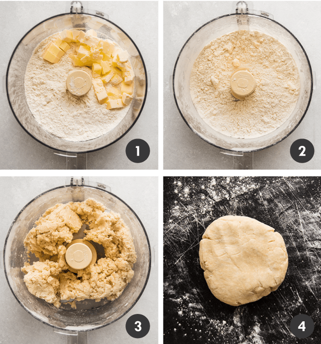 Flour and butter being blended into pie crust with a food processor.