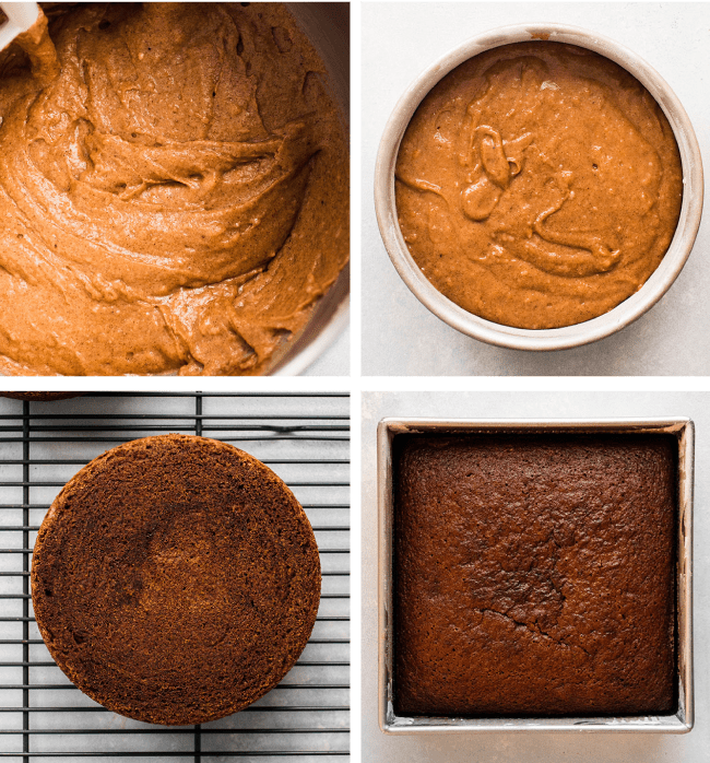 Graphic with overhead photos of brown apple spice cake batter, a round cake layer on a wire cooling rack, and a square cake in a sheet pan