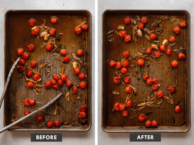 Before and after photo of white wine sauce on a sheet pan: one photo of a sheet pan full of white wine sauce, and the second photo of the sauce after reducing by half