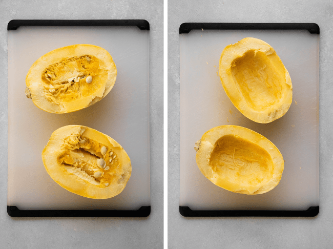 Side by side photos of halved spaghetti squash before and after removing the seeds