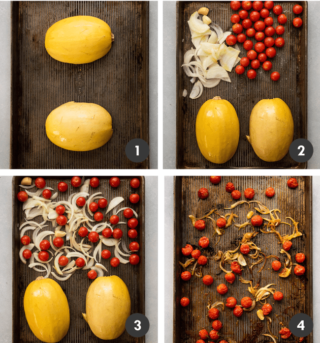 Graphic with four photos illustrating the steps to making roasted spaghetti squash