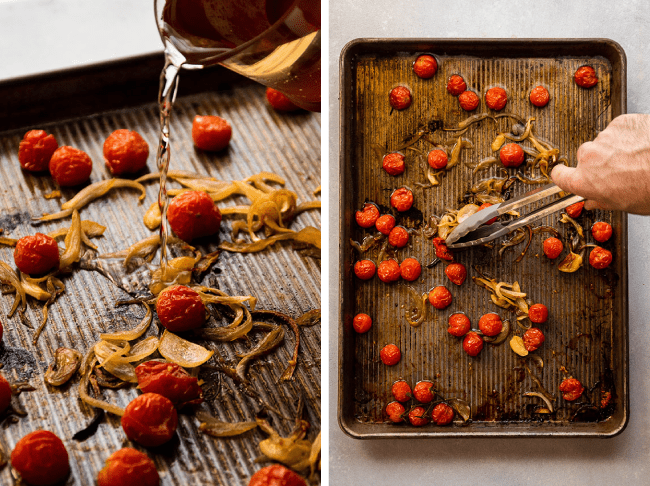 Side by side photo of white wine being poured onto a sheet pan with roasted tomatoes, next to a photo of a man's hand using grey tongs to stir tomatoes on a sheet pan