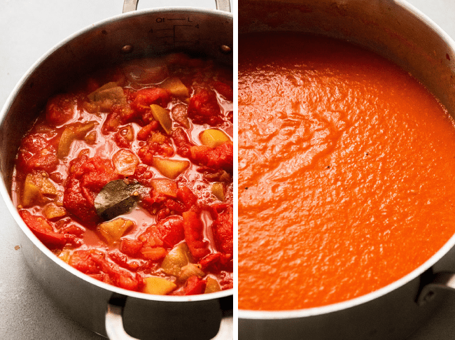 Side by side photos of bright red tomato soup before and after blending in a shallow silver pot on a white table