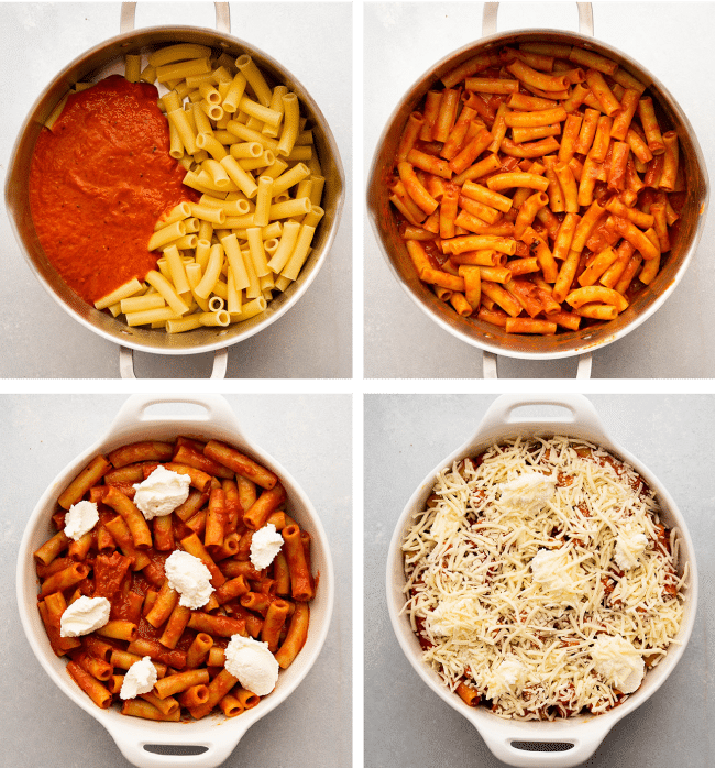 Graphic with four overhead photos illustrating the steps to assemble baked ziti