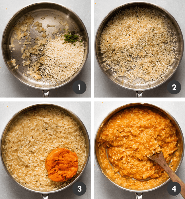 Graphic with four overhead photos illustrating the steps to make butternut squash risotto in a wide, silver skillet: sautéeing onions with garlic, toasting the rice, adding squash purée, and stirring the final product