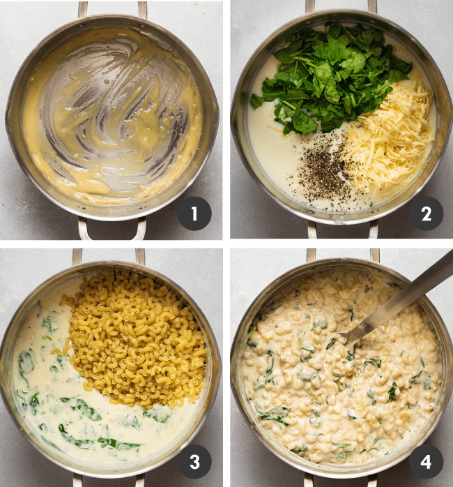 Graphic with four photos illustrating the steps to make macaroni and cheese