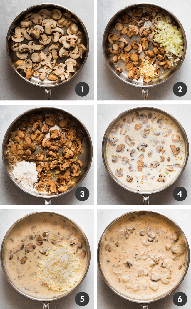 Graphic with six photos illustrating the steps to make creamy mushroom sauce in a shallow silver pan