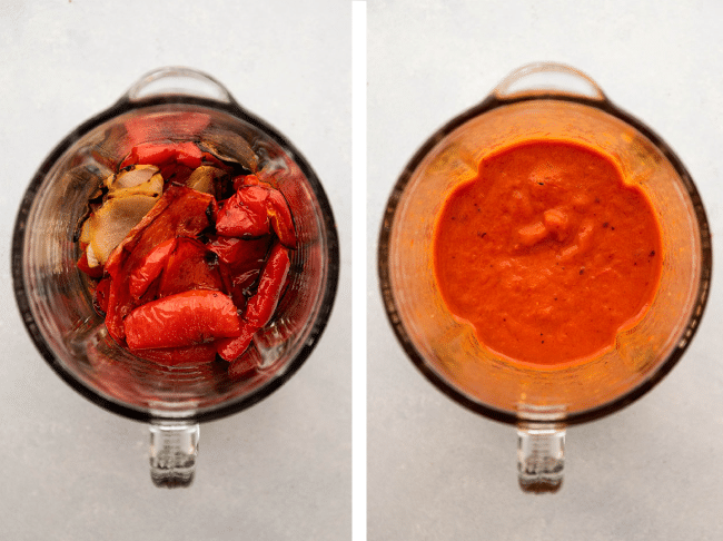 Graphic with two overhead photos: a before photo of roasted red peppers, onions, and vegetable stock in a blender and an after photo of the ingredients blended into a bright red sauce