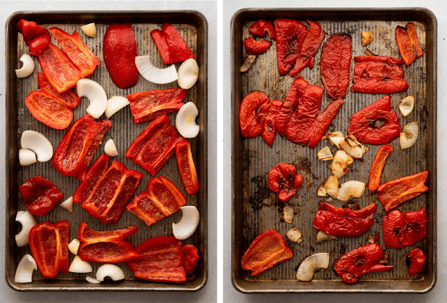 Before and after photos of red bell peppers, onion, and garlic being roasted