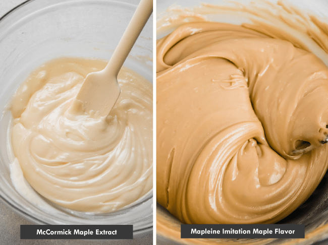 "Side by side photos, one of a light white colored frosting being stirred with a white spatula and text that reads ""McCormick Maple Extract"" and one with a caramel brown frosting in a glass bowl with text that reads ""Mapleine Imitation Maple Flavor"""