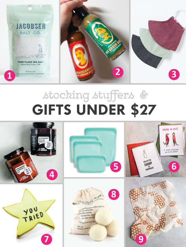 Collage with images of various gift ideas including hot sauce, jam, silicone stasher bags, face masks, and more