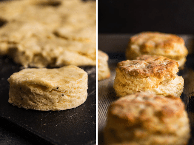 Gruyere biscuits before and after baking.