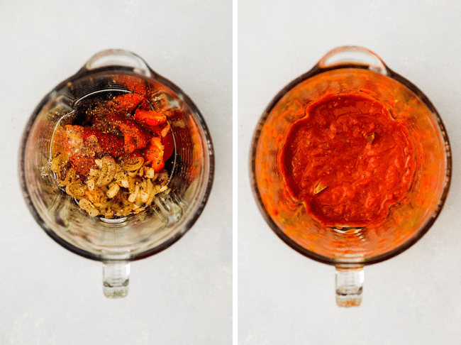Roasted red pepper sauce in the bowl of a blender.