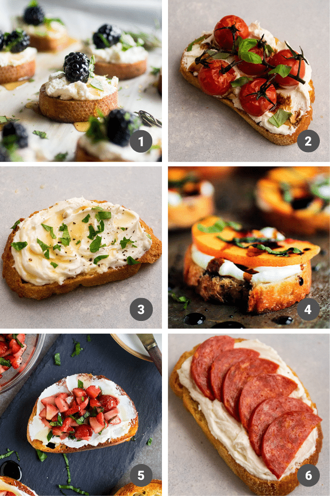 Crostini topped with whipped goat cheese and various garnishes.