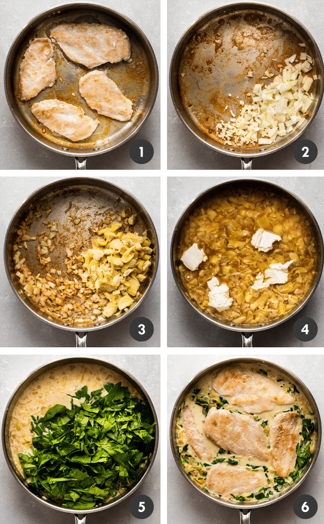 Graphic with six photos illustrating the steps to make artichoke and spinach chicken