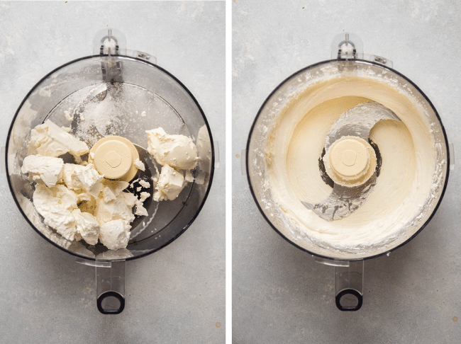 Food processor blending crumbled goat cheese.
