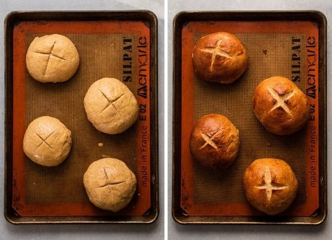 Overhead view of bread bowls on a baking sheet lined with a silpat, before and after being baked.