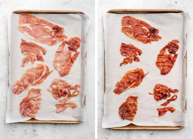 Crisping prosciutto on a small baking sheet lined with parchment paper.