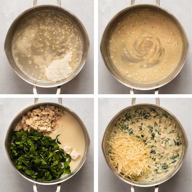 Mixing creamy parmesan sauce with chicken and spinach in a silver saucepan.