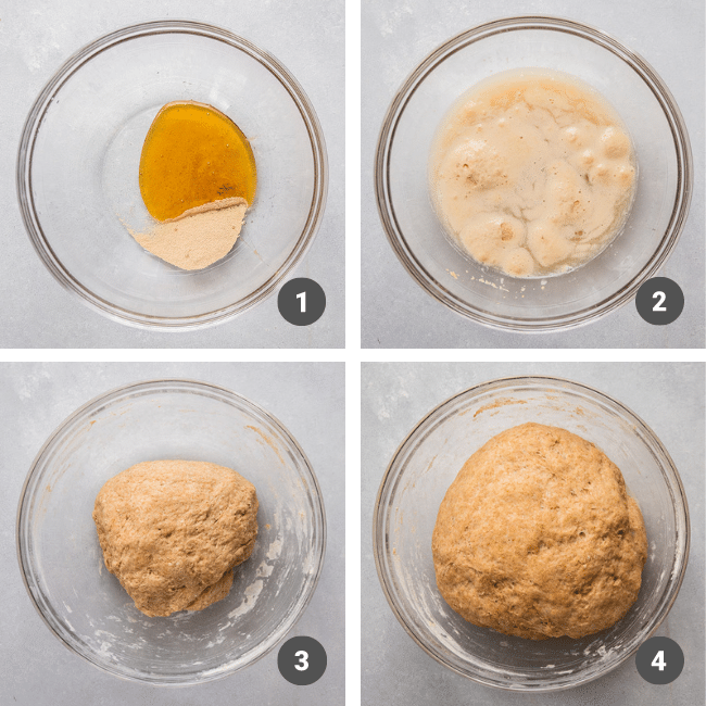 Mixing whole wheat bread dough in a glass mixing bowl.