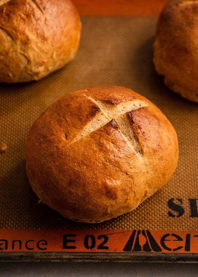 Bread on a nonstick baking mat.
