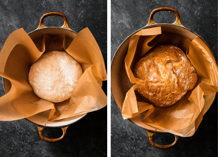 Small batch loaf in a dutch oven with a piece of brown parchment paper.