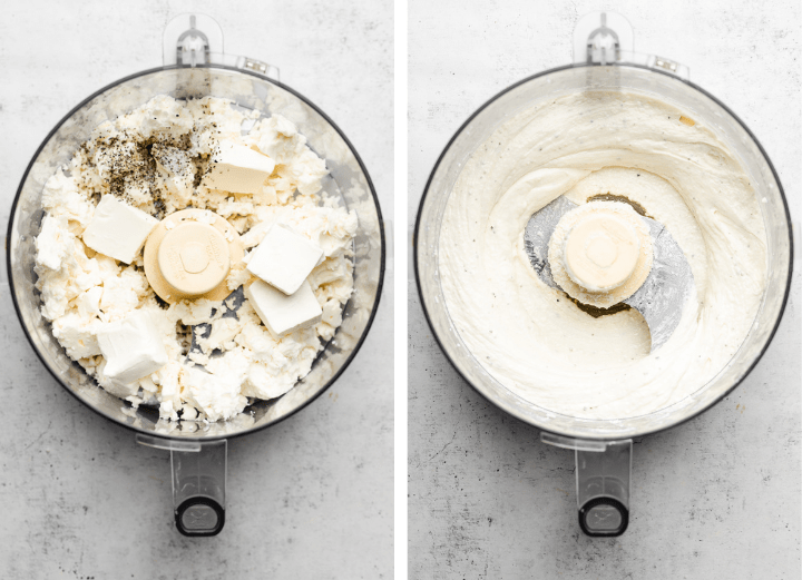 Feta, cream cheese, and seasonings being mixed together in a food processor.