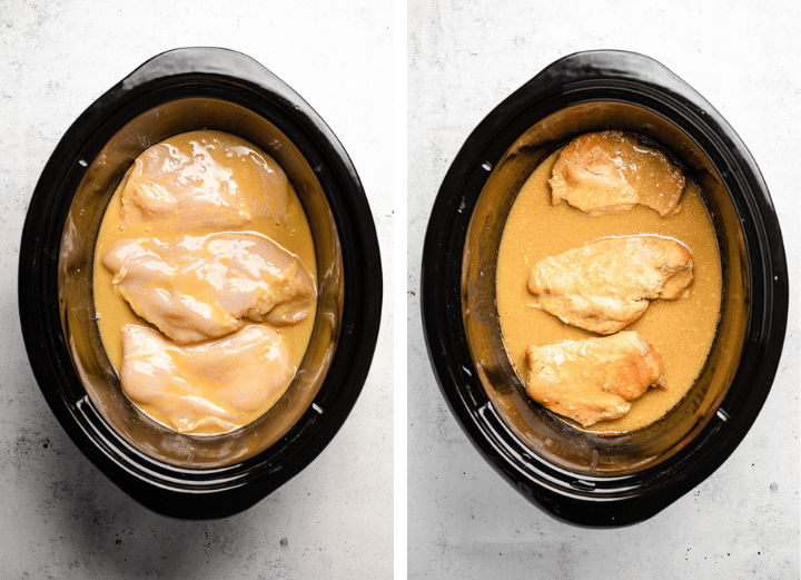 Chicken breasts and mustard sauce in the bowl of a large slow cooker.