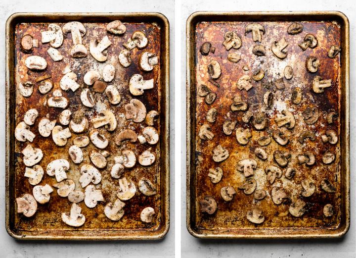 Roasting sliced mushrooms on a large sheet pan.