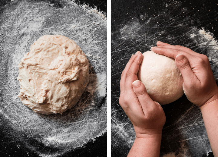 Hands shaping bread dough into a round boule.