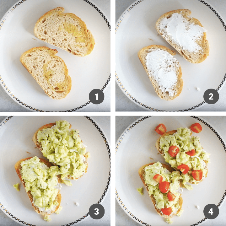 The stages of assembling breakfast bruschetta.