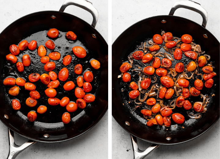 Burst tomatoes in a black skillet with caramelized shallots.