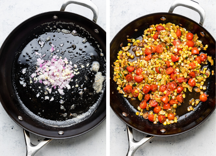 Adding tomatoes, corn, and zucchini to garlic and shallots in a large black skillet.