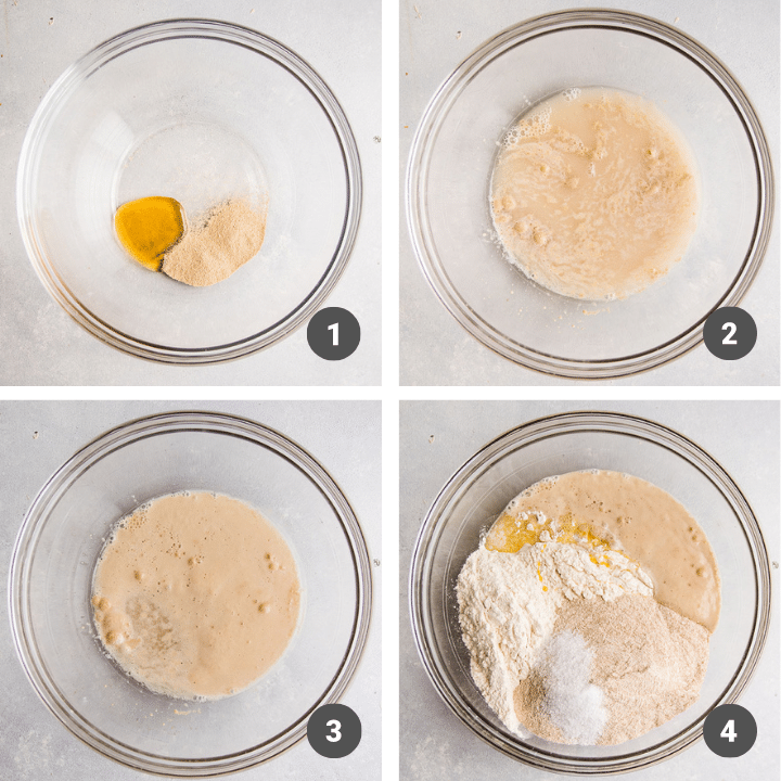Mixing dough ingredients together in a glass mixing bowl.