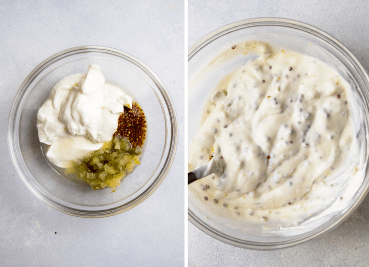 Tartar sauce in a small glass bowl on a white table.