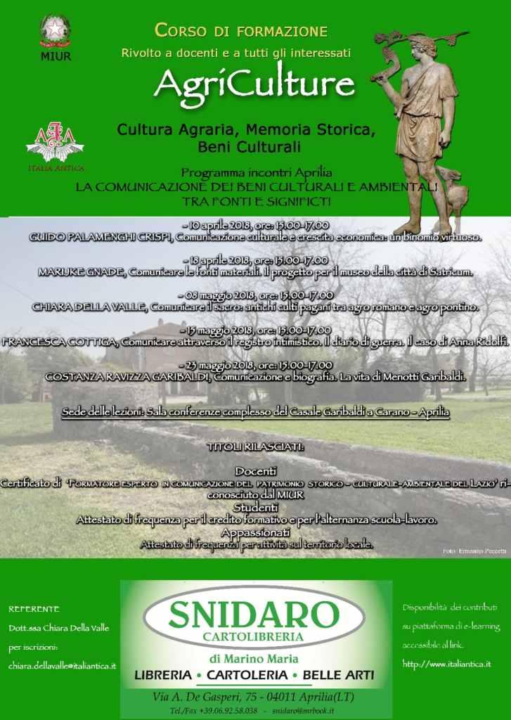 """Corso di Formazione """"AGRICULTURE"""" 2017-18 III edizione  organizzato da Associazione """"Italia Antica"""""""