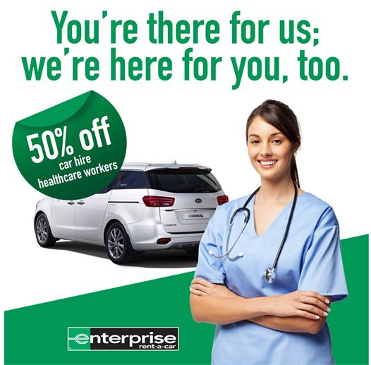 care rental deal 50% off for healthcare workers