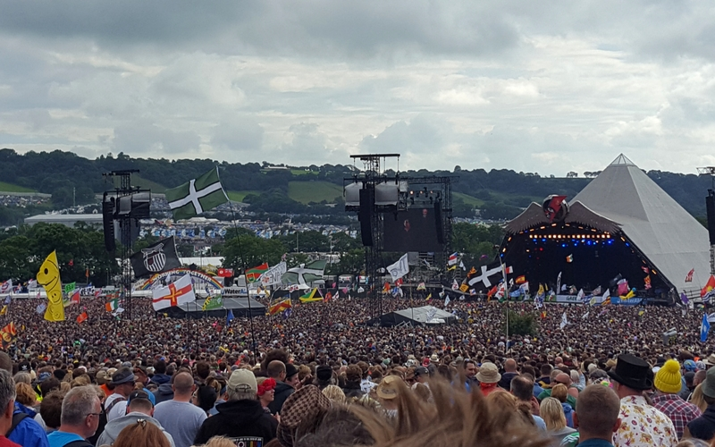 A busy crowd at Glastonbury 2015