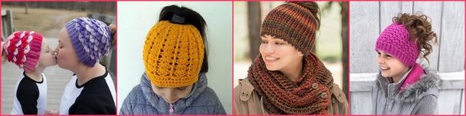A Dozen Messy Bun Hats to Knit & Crochet ~ Life Beyond the Kitchen