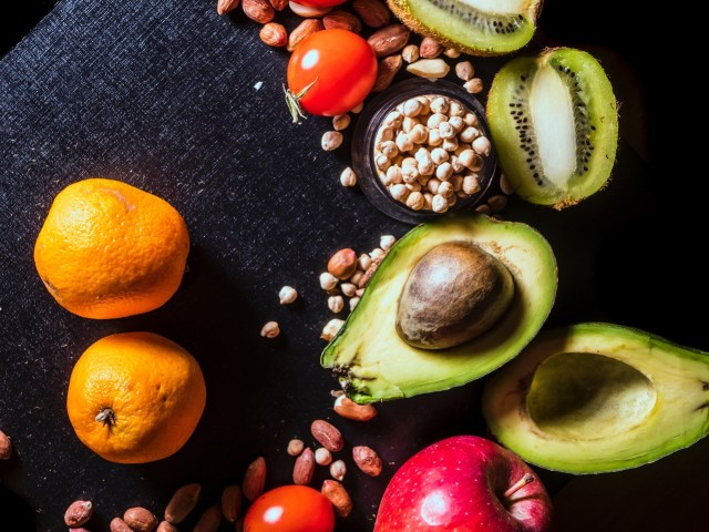 Healthy assortment of fruit and chickpeas