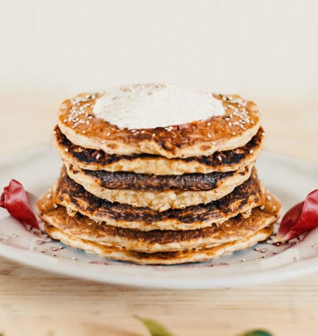 Vegan tiramisu pancakes in a neat stack