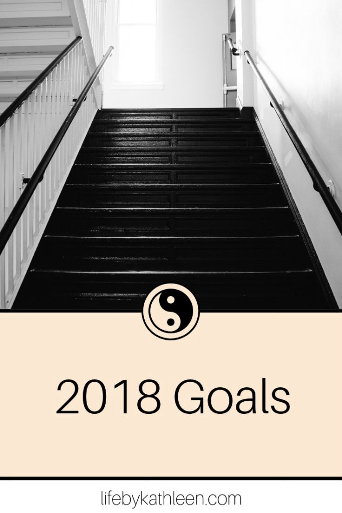 black and white stairs text overlay 2018 goals