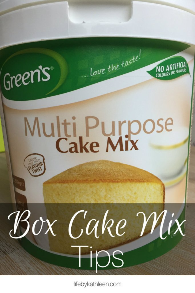 Multi-purpose cake mix text overlay: box cake mix tips