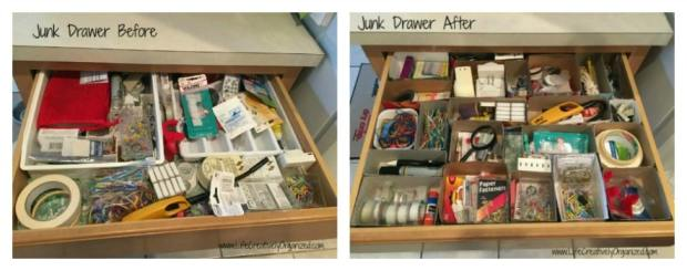 Organize your junk drawer using recycled boxes!