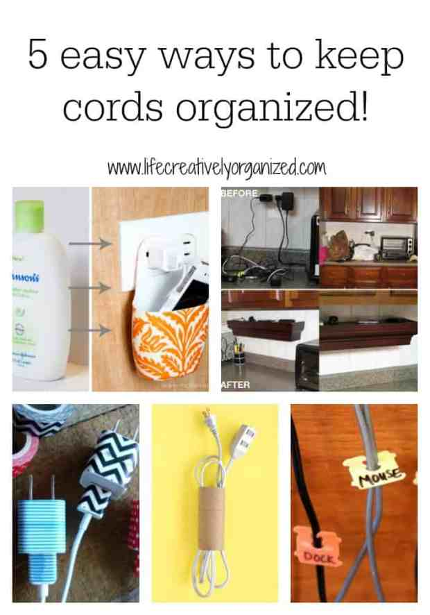 Hate to have to open a drawer and sort through a tangled mass of cords to find that specific one you need? Here are 5 ways to keep cords organized!